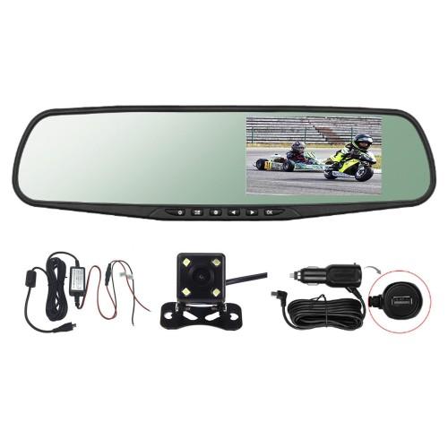 """Espejo Retrovisor DVR  4.3"""" HD Dual Camera G-Sensor"""