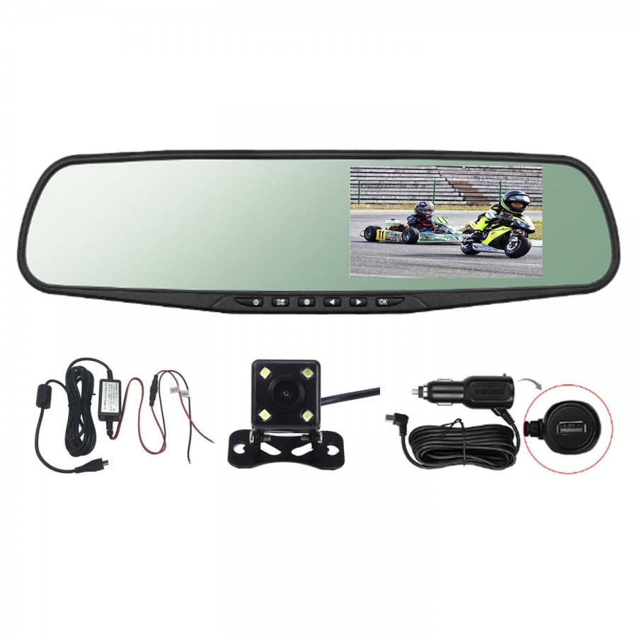 "Espejo Retrovisor DVR 4.3"" HD Dual Camera G-Sensor"