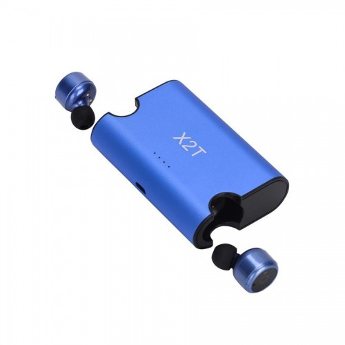 Mini Auriculares X2T Bluetooth Power stand Box Azul