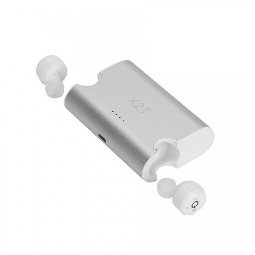 Mini Auriculares X2T Bluetooth Power stand Box Plata