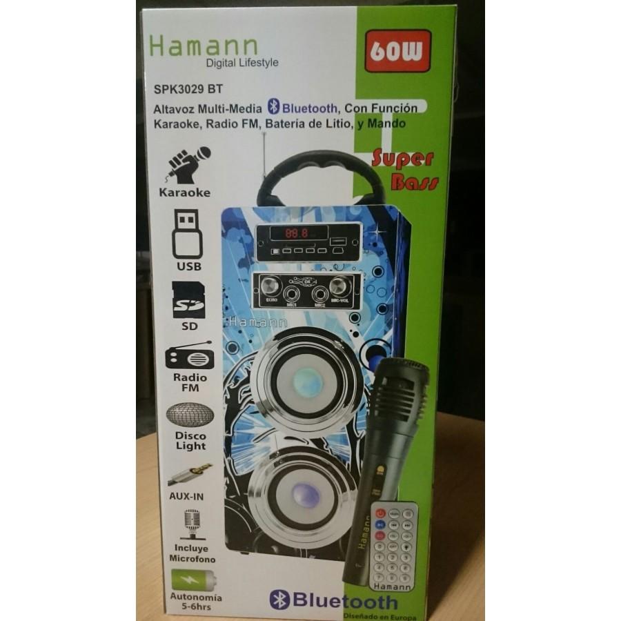 ALTAVOZ HAMANN KARAOKE C/RADIO SPK3029 USB MICRO
