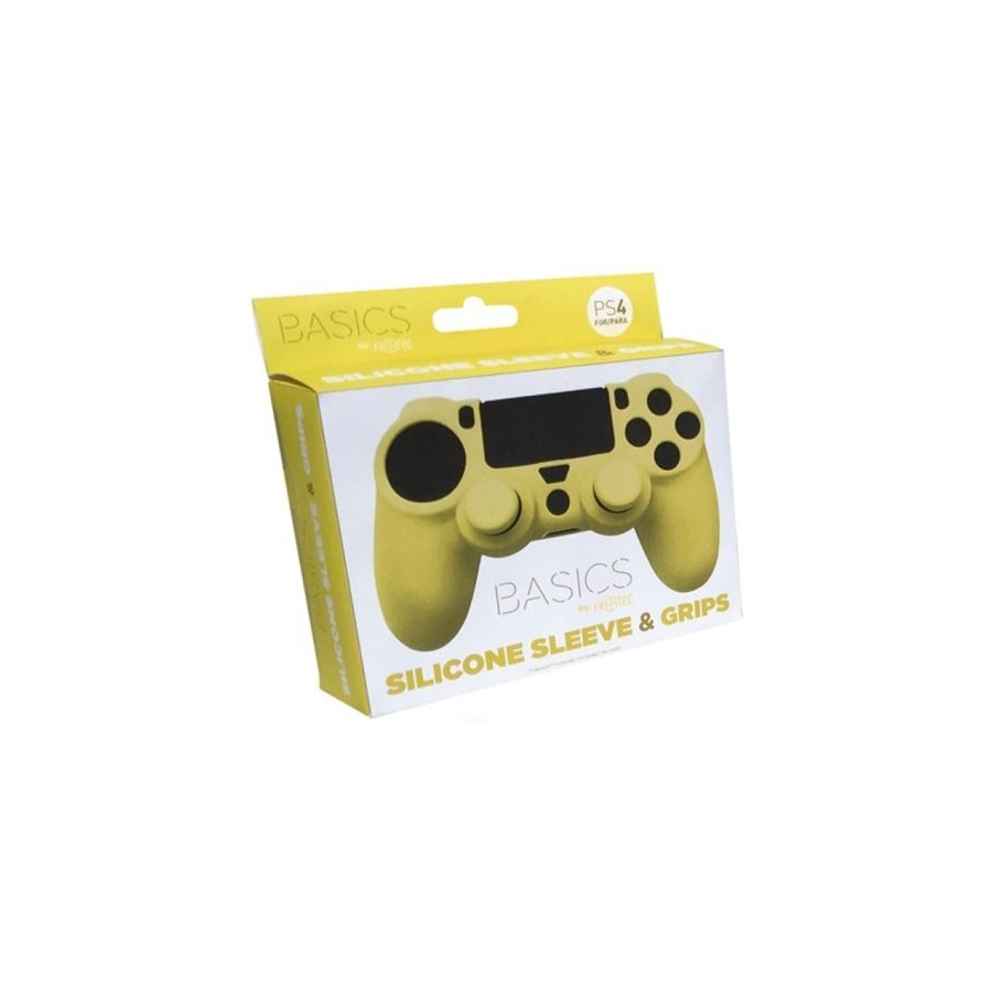 FUNDA MANDO PS4 DE SILICONA+GRIP AMARILLO FT0009