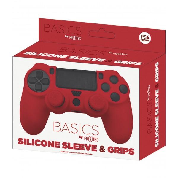 Funda Mando PS4 De Silicona + Grip Rojo FT0016