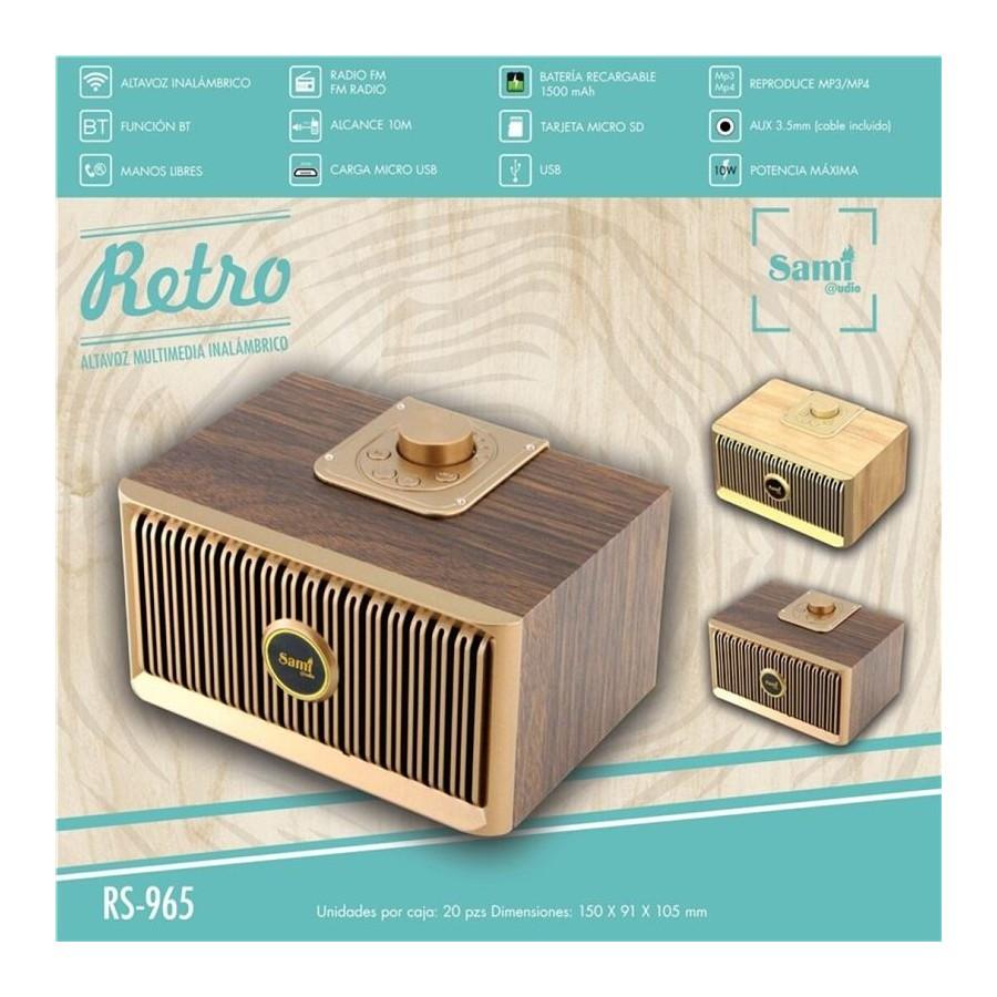 ALTAVOZ SAMI RS-965 BT/FM/MIC/USB/RETRO MADERA