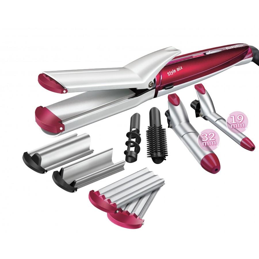 BaByliss MS21E Utensilio de peinado Herramienta de peinado con múltiples accesorios Rojo, Plata