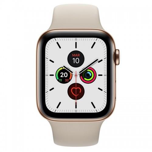 Apple Watch S5 44mm + Cellular Acero Inoxidable Dorado con Correa Deportiva Piedra