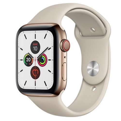 Apple Watch S5 44mm + Cellular Acero Inoxidable Dorado con Correa Deportiva Piedra