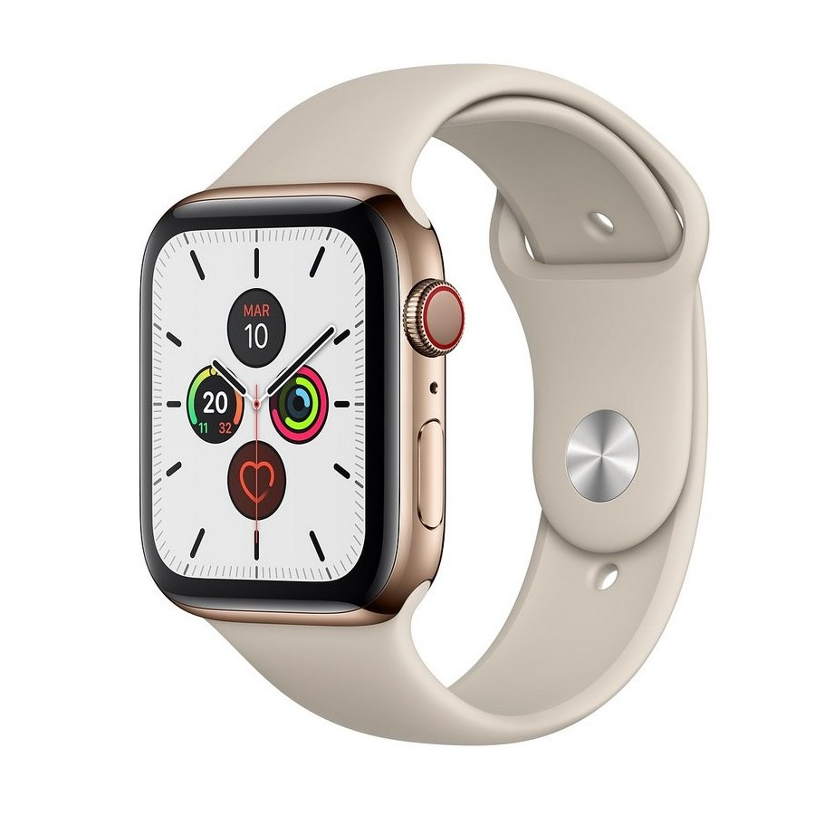 Apple Watch S5 40mm + Cellular Acero Inoxidable Dorado con Correa Deportiva Piedra