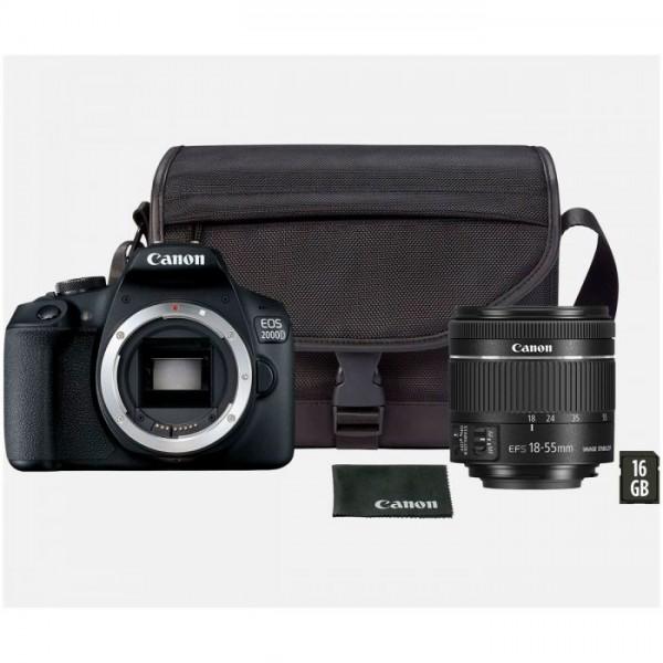 Cámara Canon EOS 2000D S18-55MM + Funda + Tarjeta SD