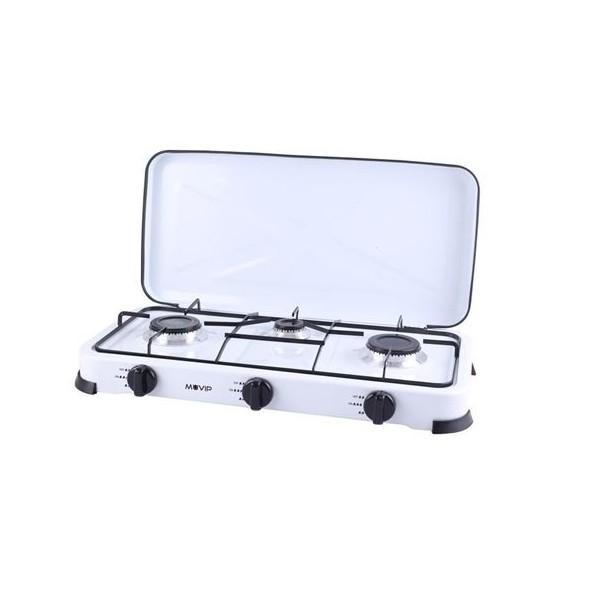 Cocina de Gas Muvip MV0195 3 Fuegos Con Tapa Blanca