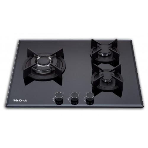 Placa de Gas Mxonda MX-PG2200N 3 Fuegos Cristal Negro