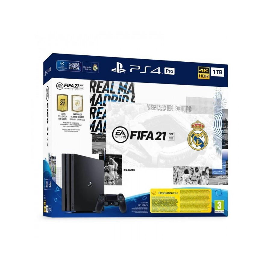 CONSOLA PS4 PRO 1TB ED REAL MADRID + FIFA 21