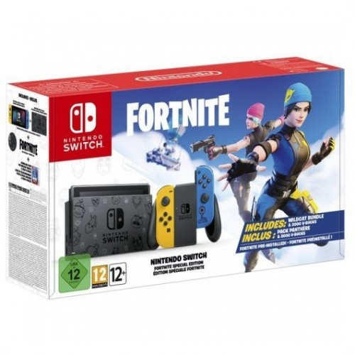 Consola Nintendo Switch Edición Fortnite + Lote Gata Salvaje + 2000 Pavos