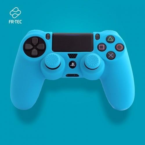 Funda FR-TEC Mando Ps4 Silicona + Grip Azul FT0007