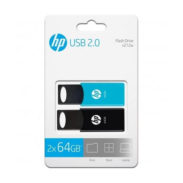 Pendrive HP v212w 64GB USB 2.0 Pack 2 Unidades Negro/Azul