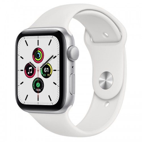Apple Watch SE GPS 44mm Aluminio en Plata con Correa Deportiva Blanca