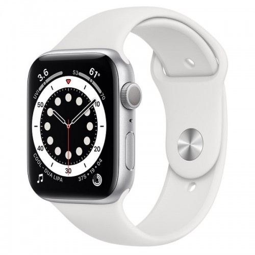Apple Watch Series 6 GPS 44mm Aluminio en Plata con Correa Deportiva Blanca