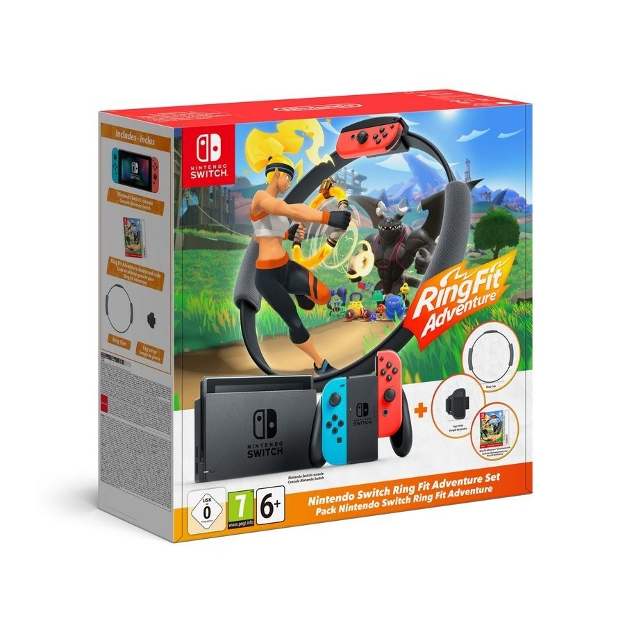 Nintendo Pack Switch Azul Neón/Rojo Neón + Ring Fit Adventure