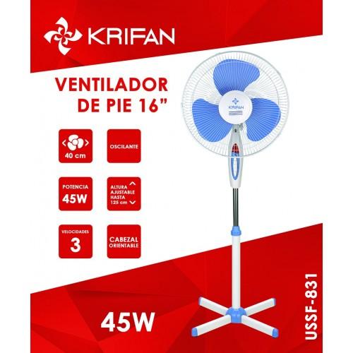 "Ventilador de Pie KRIFAN USSFf-831 45W 16"" de color Azul"