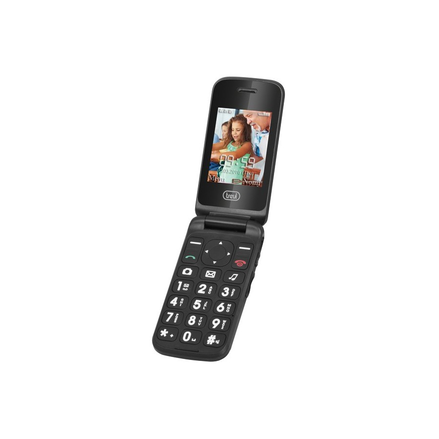 Móvil Trevi Flex 50, TFT, MicroSD, 640 x 480 pixels, Single SIM, GSM, Micro-USB, SOS Senior, con Cámara y color Negro