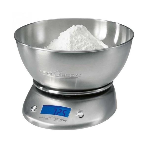 Balanza de cocina Proficook KW1040, Bol de 2 litros y acabado inox