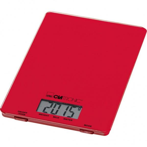 Balanza de cocina Clatronic KW3626, digital, extarplana, LCD, hasta 5Kg y color rojo