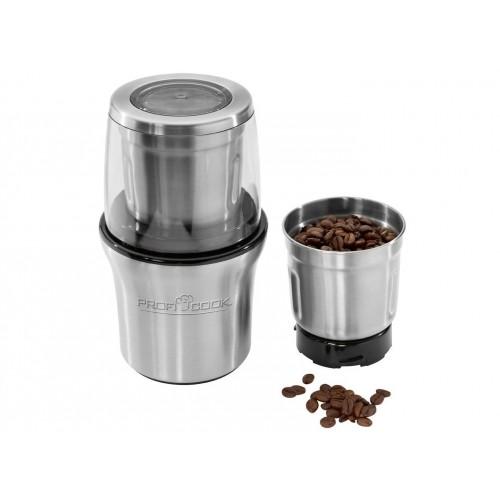 Molinillo de café eléctrico + picador multiusos Proficook PC-KSW 1021, 2 en 1, 200w y color Inox - Negro