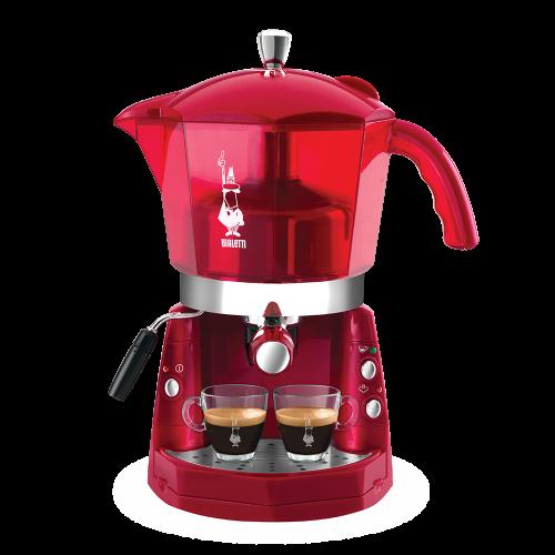 Cafetera express Bialetti Mokona CF40, eléctrica, depósito de 1.5Litros, 1050w y color Rojo Transparente