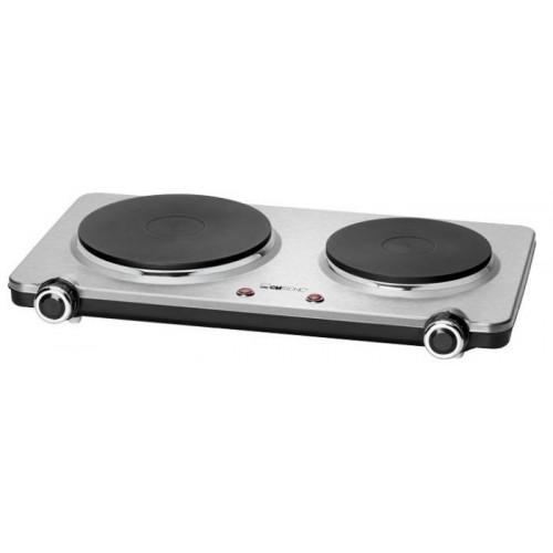 Hornillo Eléctrico CLATRONIC DKP 3668, Doble 2 placas de cocinado, 18.5 cm y 15.5 cm, 1500 W y 1000 W