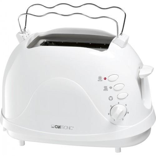Tostadora  Clatronic TA3565, para 2 rebanadas de pan, Potencia de 700 W, color Blanca