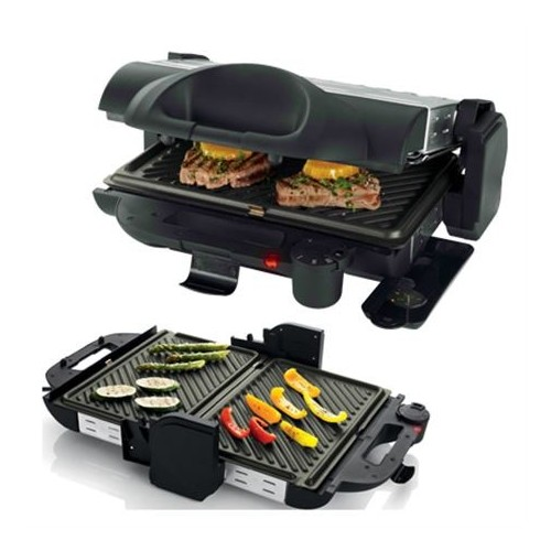 Sandwichera Grill Multifuncion Larry House LH1223 color Inox potencia de 2.000w