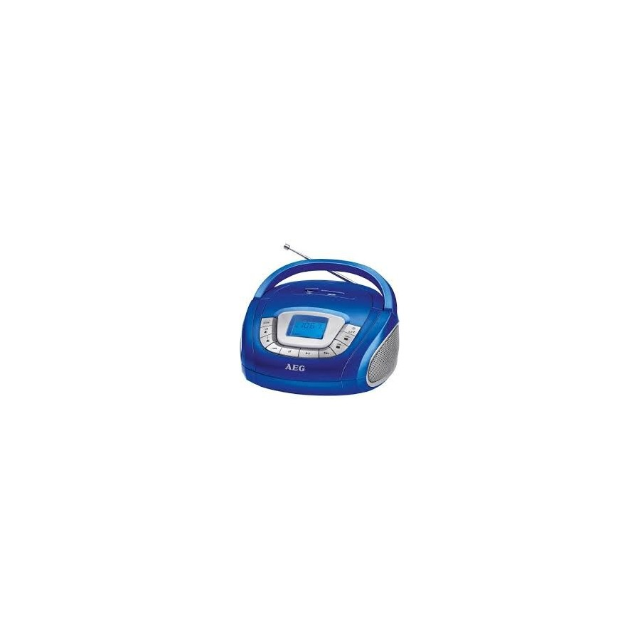 Radio portátil estéreo AEG SR 4373, con puerto USB y ranura para tarjeta SD y color azul