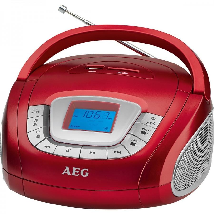Radio portátil estéreo AEG SR 4373, con puerto USB y ranura para tarjeta SD color rojo