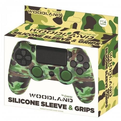 Funda Mando Ps4 Dualshock Silicona + Grips Camo Woodland
